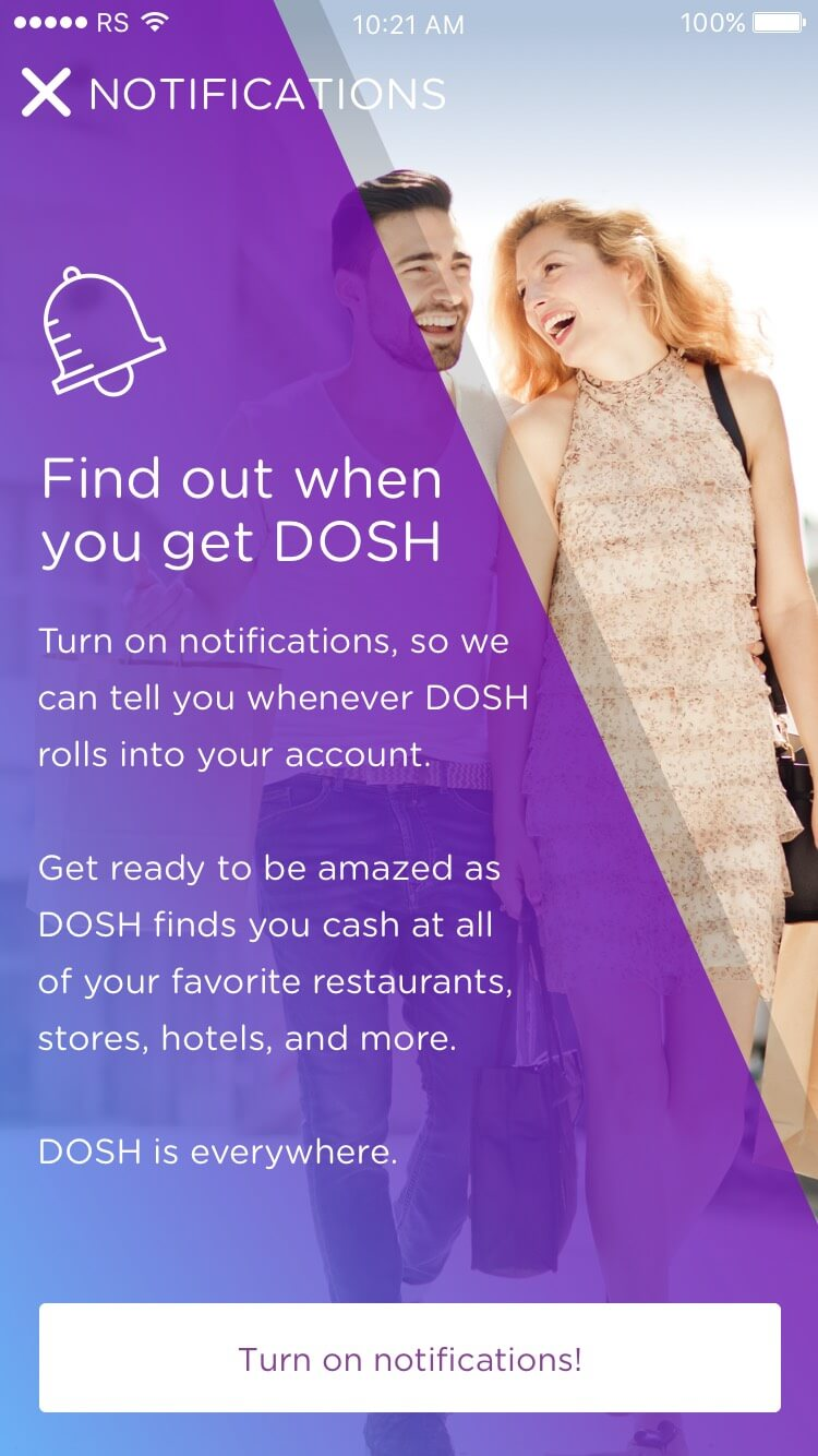 DOSH app Onboarding: Turning on notifications Rocksauce Studios