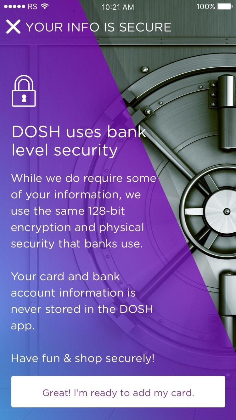 DOSH app Onboarding: Explaining Security Rocksauce Studios