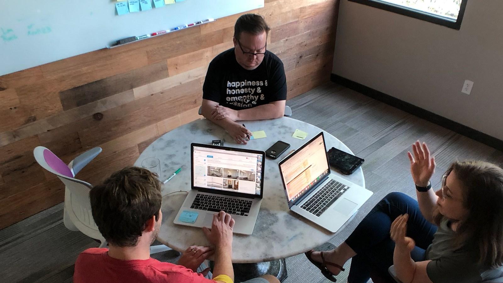 user testing session at Rocksauce