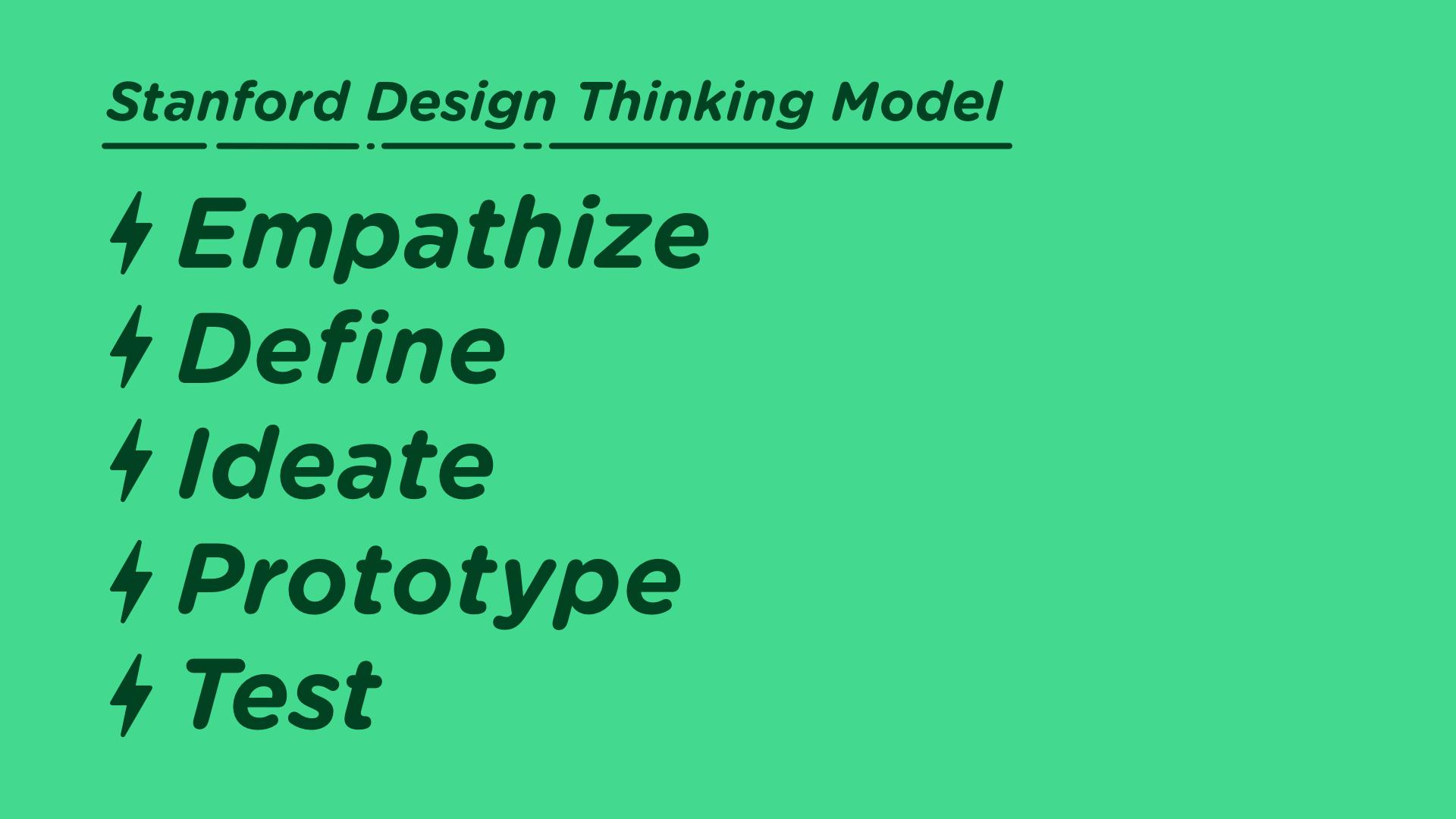 Stanford Design Thinking Model: Empathize, Define, Ideate, Prototype, Test
