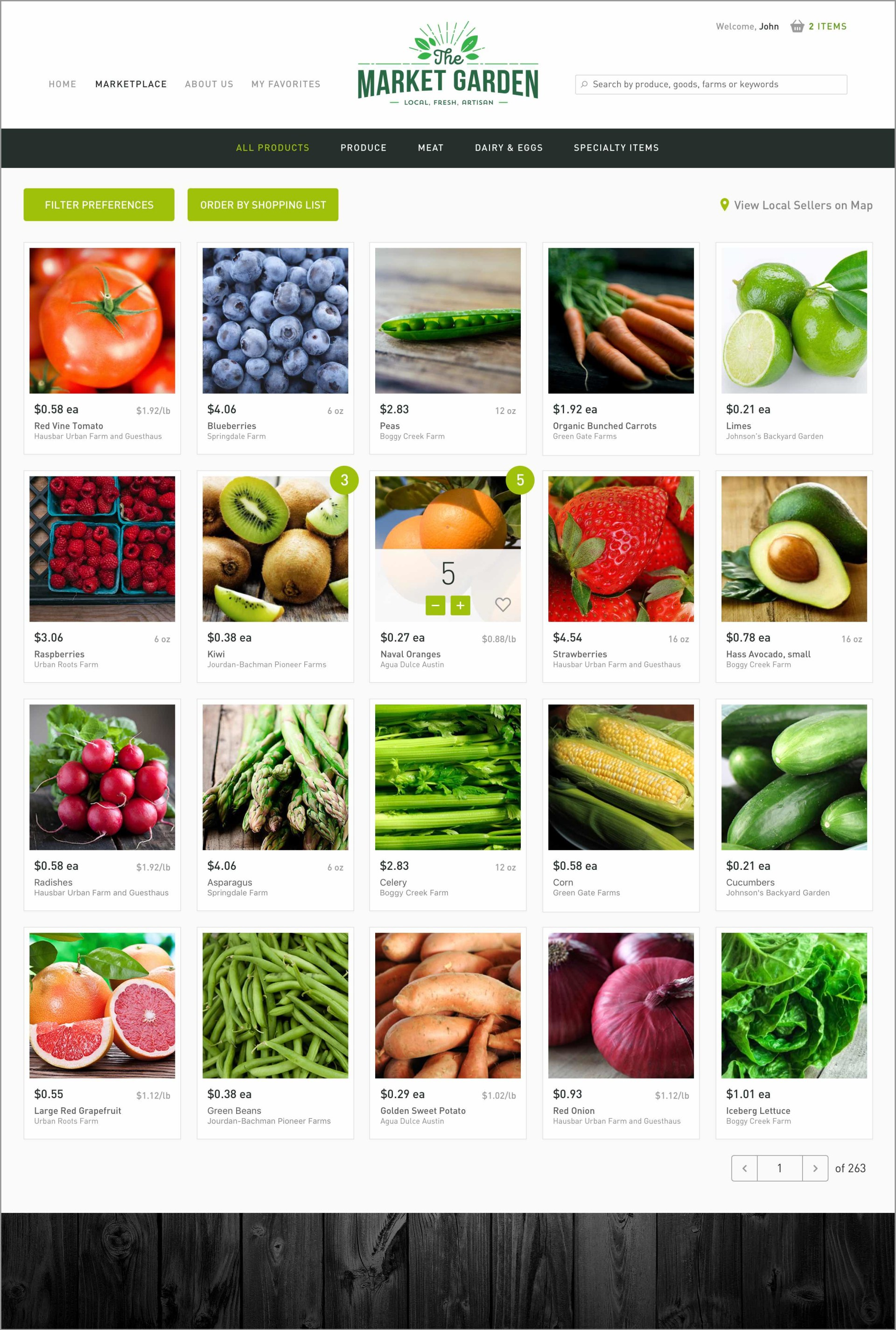 The Market Garden Products Page