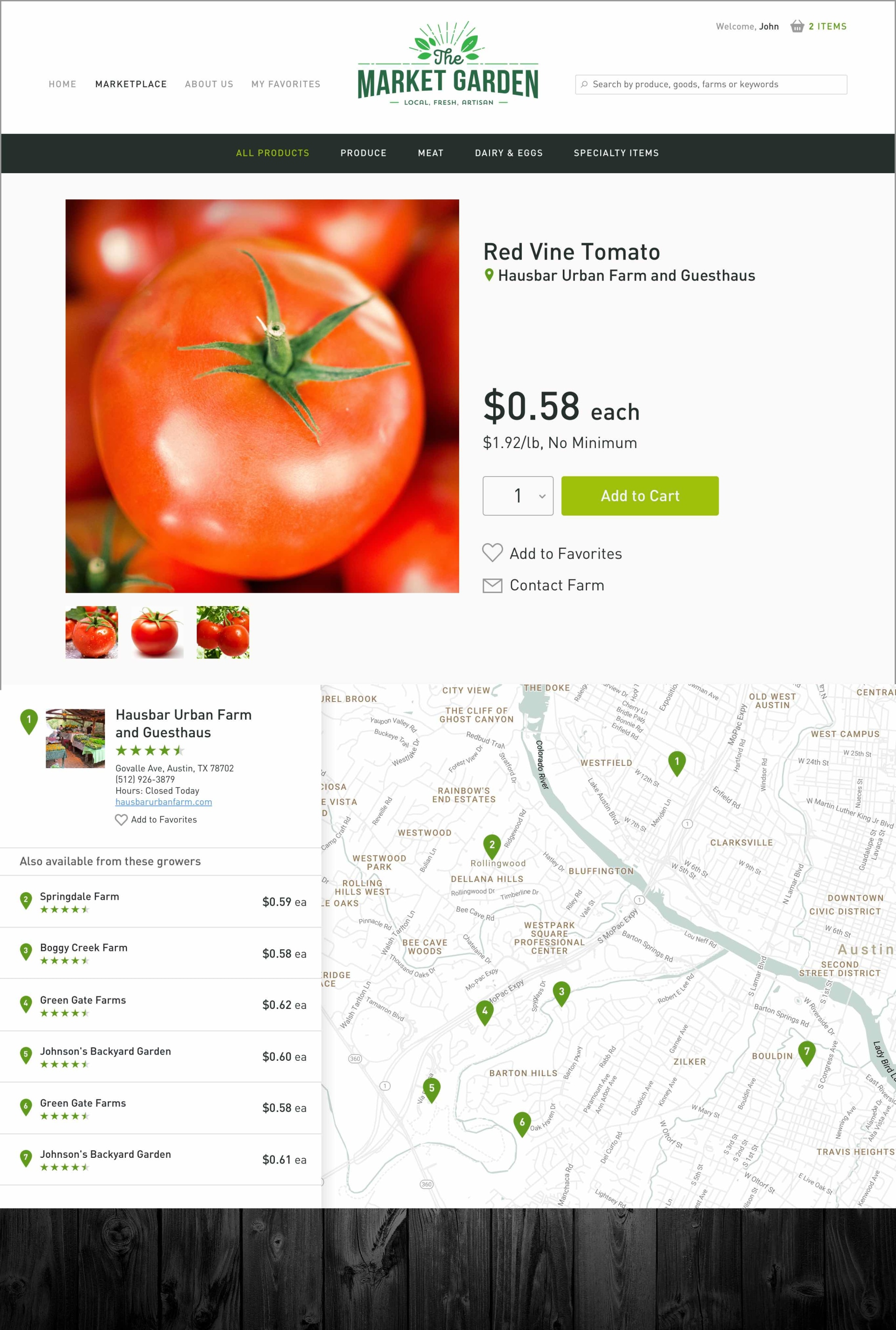 The Market Garden Specific Product Page