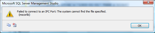SQL Server Error – Failed to connect to an IPC Port: The