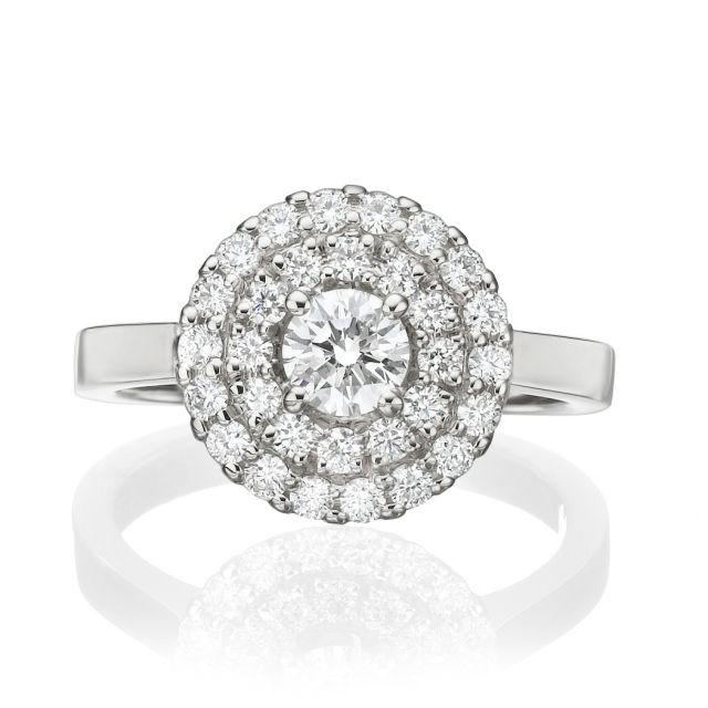 טבעת אירוסין תבל זהב לבן