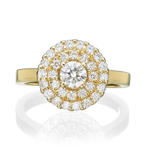 טבעת אירוסין יוקרתית תבל זהב צהוב