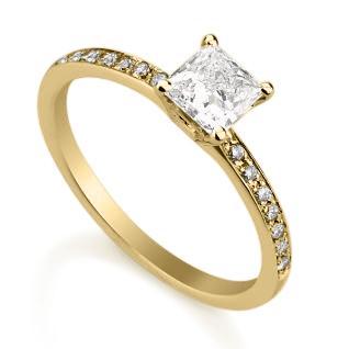 טבעת אירוסין פרינסס זהב צהוב