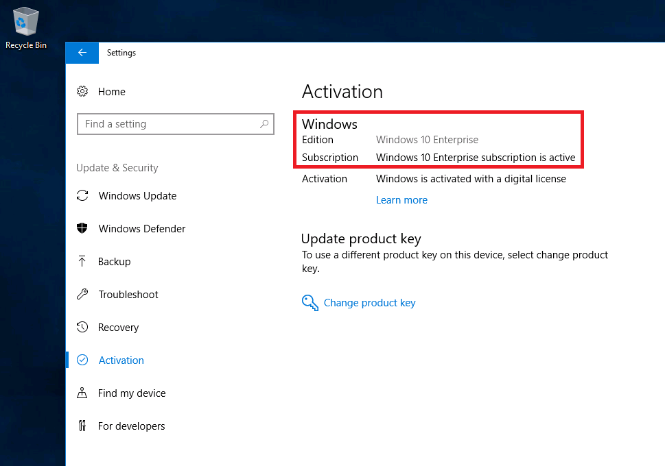 Windows 10 subscription activation status under settings appg step up windows 10 pro to enterprise with subscription ccuart Choice Image