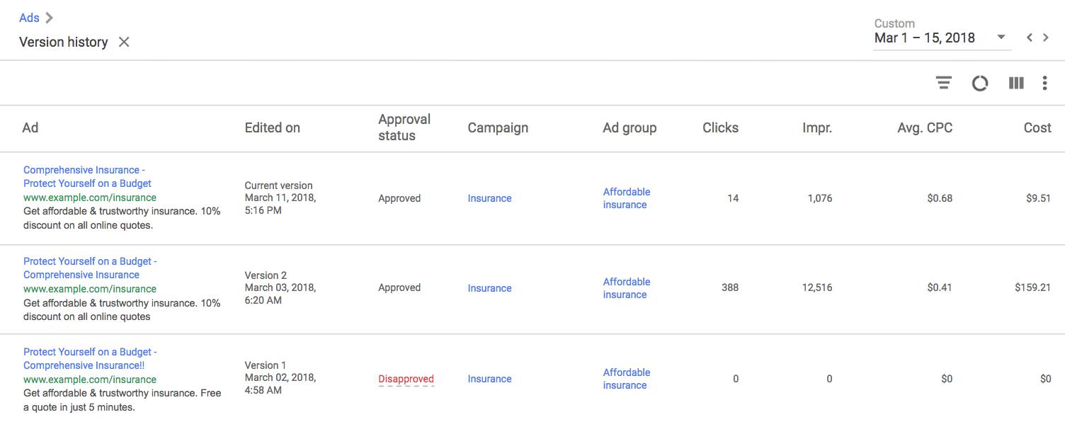 Google AdWords Version History Page
