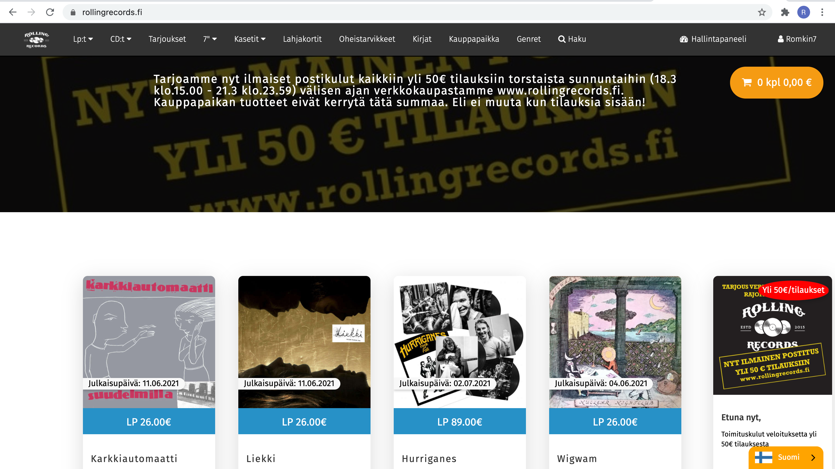 Ecommerce web app of Rolling Records Tmi