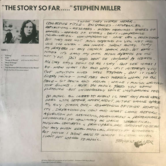 "Stephen Miller/  Lol Coxhill ""The Story So Far..."" ""...Oh Really?"" LP 0"