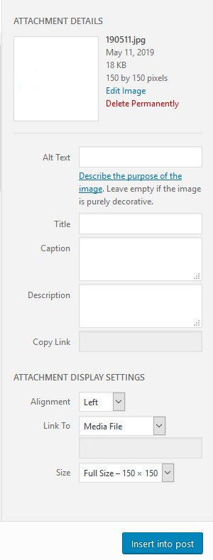 Current WordPress Insert Image options panel