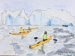 Sketch of kayakers