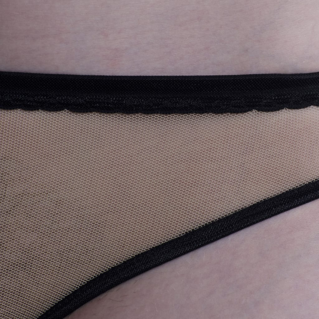 Nude Mesh/Black Trim