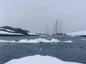 Yachts moored in icy seas