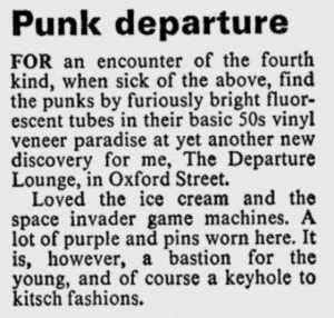 Newspaper article about Departure Lounge