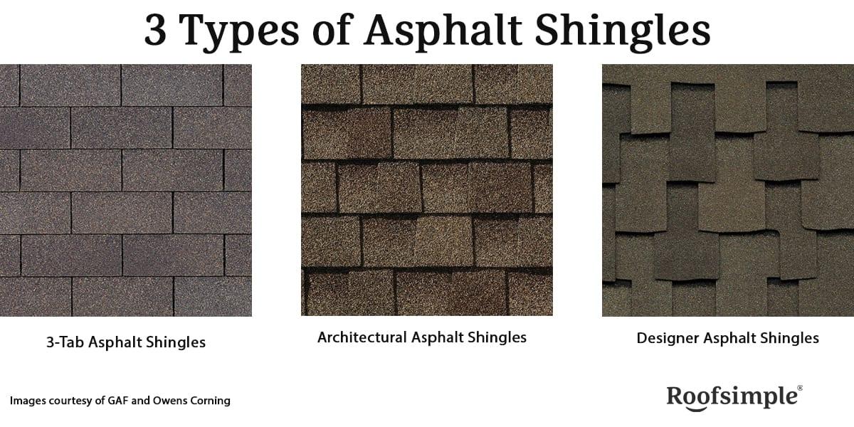 3 types of asphalt shingles