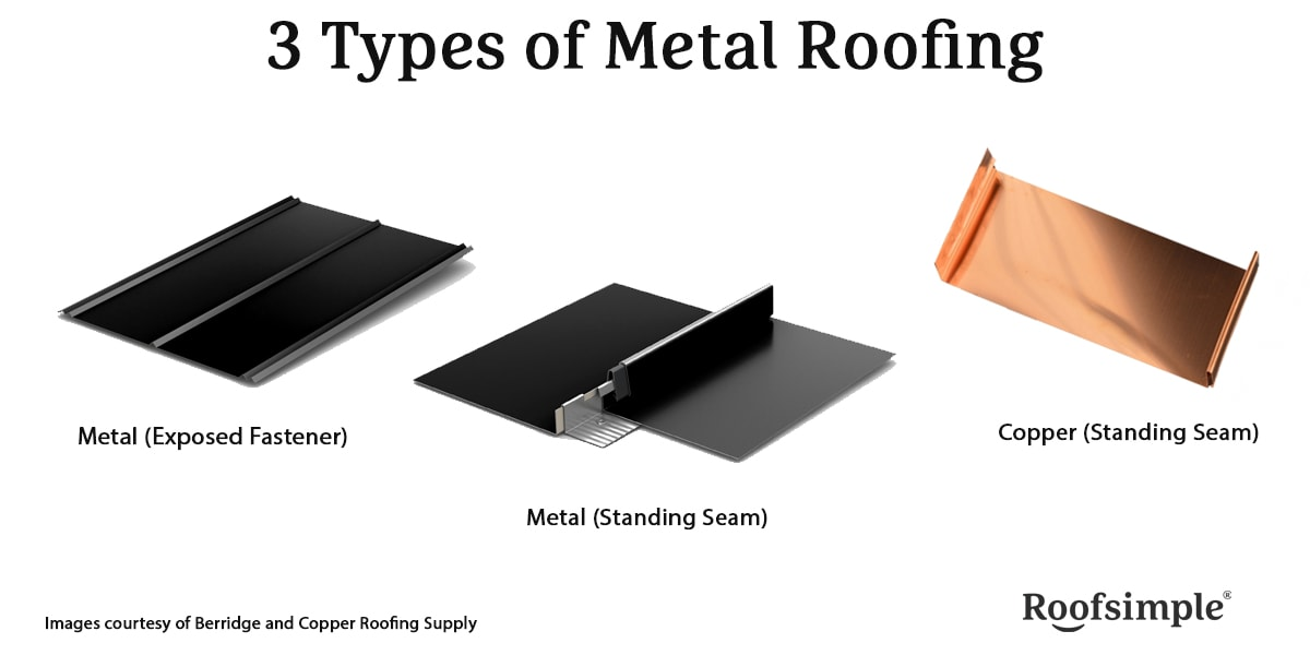 3 types of metal roofing