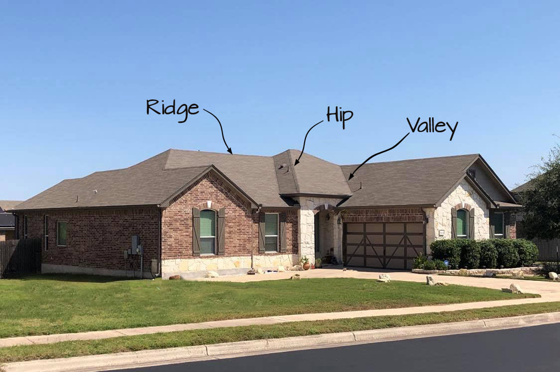 Parts to a roof - Hip-ridge-valley