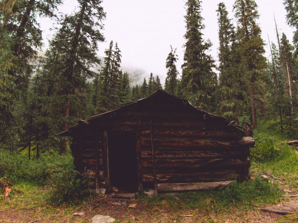 An abandoned mining shack resting in the wilderness.