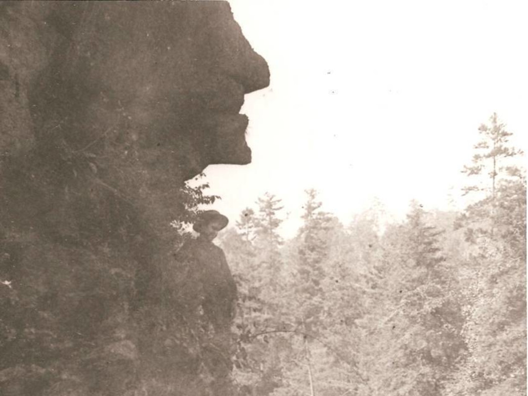 The Tallulah Gorge Witch's Head rock formation (vintage photo).