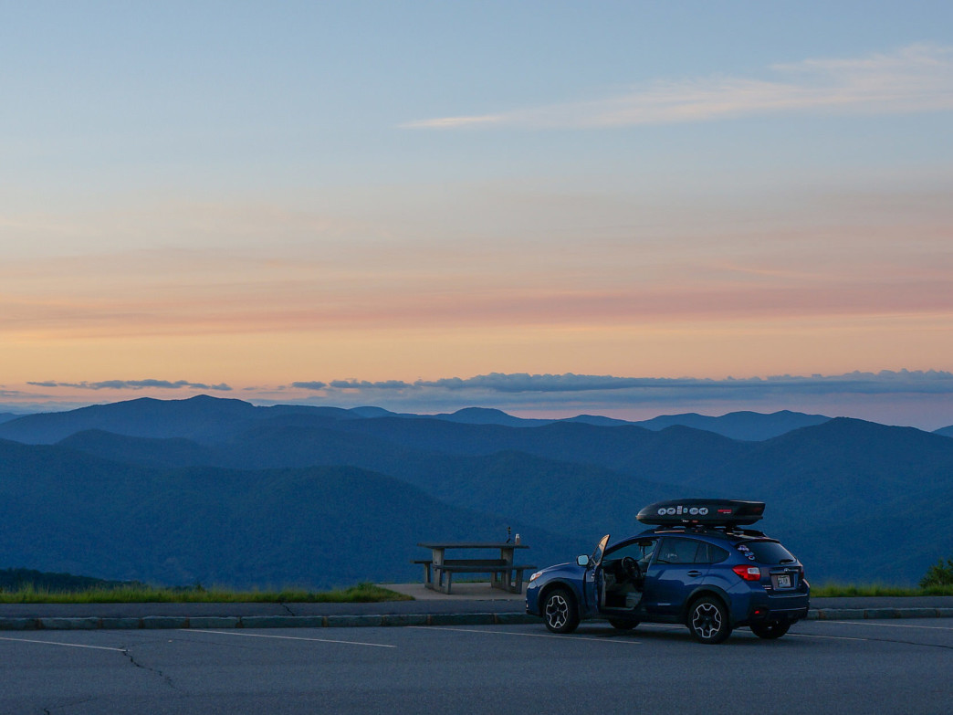 Sunrise from the parking area of Waterrock Knob