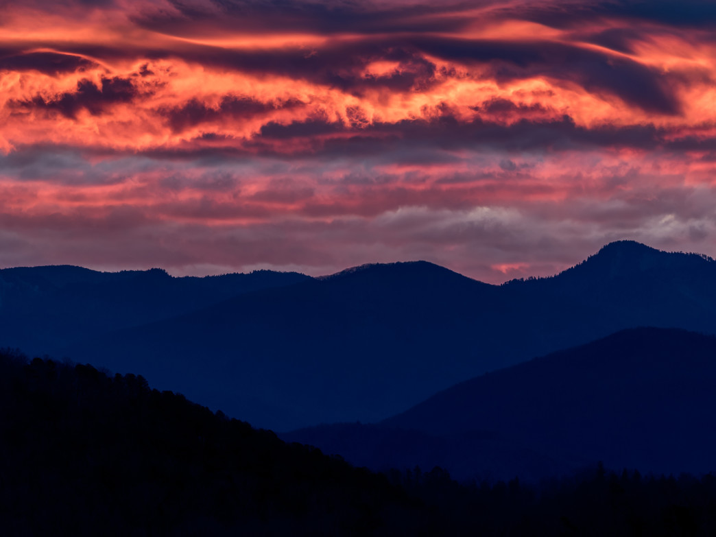 The sky on fire above the Great Smoky Mountains.