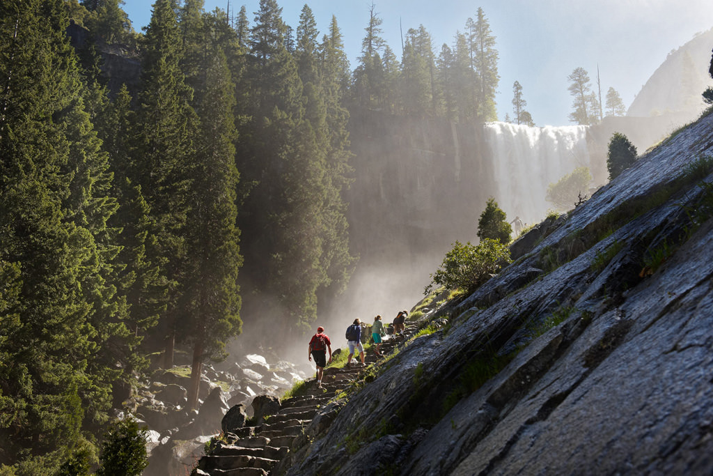 Hikers on Mist Trail