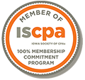 Logo for Iowa Society of CPAs 100 Commitment