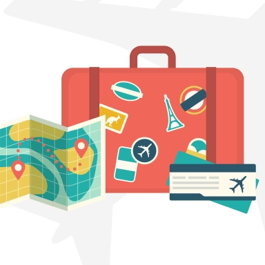 cartoon illustration of suitcase, map and airline ticket