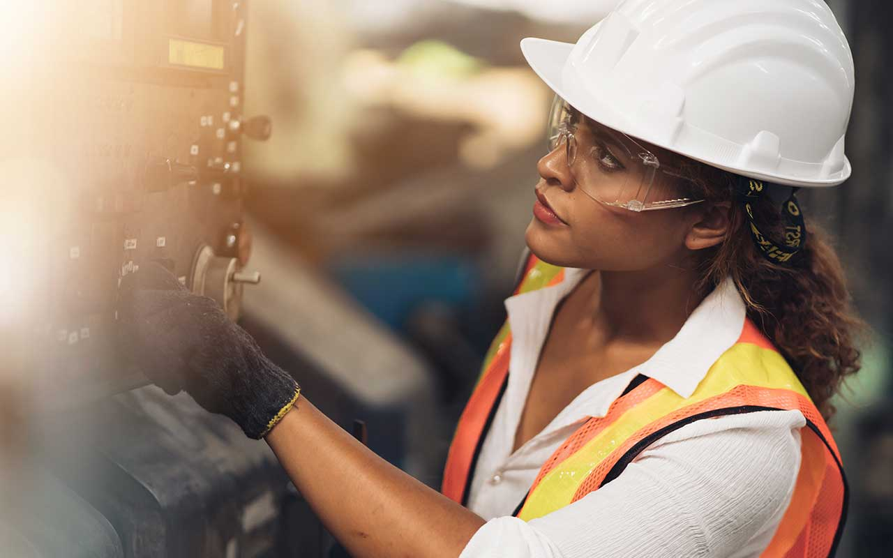 A manufacturing worker doing their job