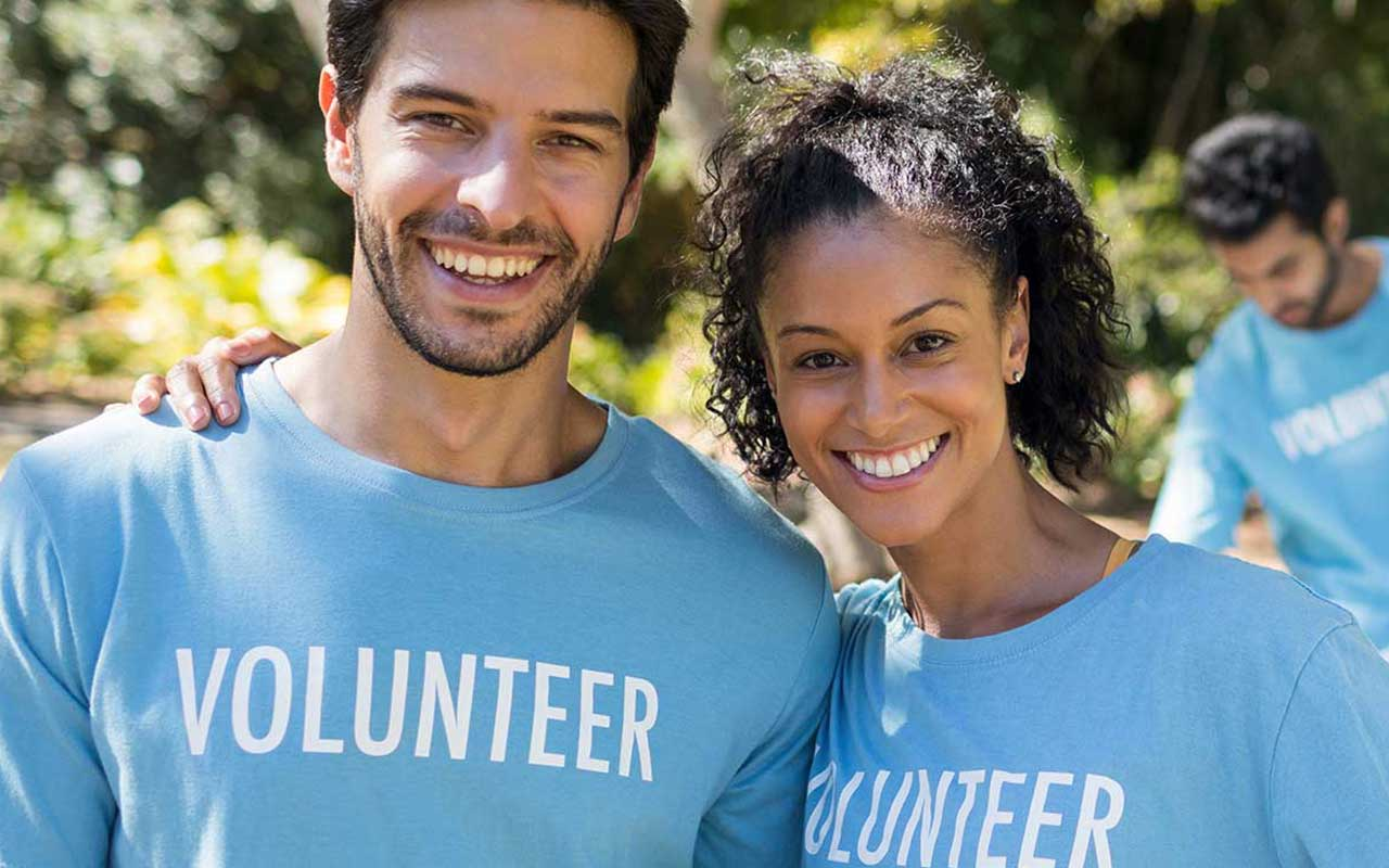 Two volunteers working for a nonprofit organization