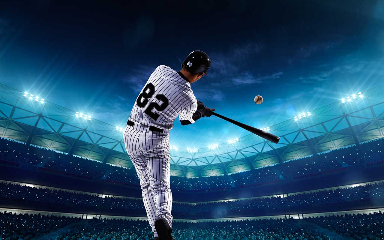 A photo of a professional baseball player at a stadium