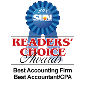 Readers' Choice Awards Best Accounting Firm, Best Accountant/CPA.