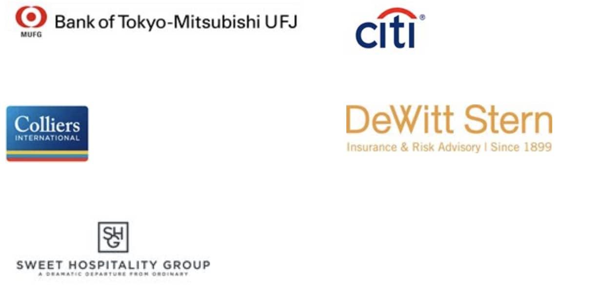 Bank of Tokyo-Mitsubishi UFJ, Citi, Colliers International, DeWitt Stern, Sweet Hospitality Group