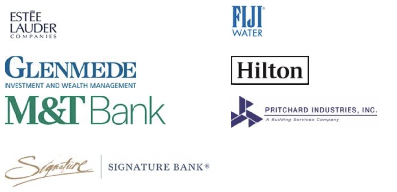 Estee Lauder Companies, Fiji Water, Glenmede, Hilton, M&T Bank, Pritchard Industries, Signature Bank