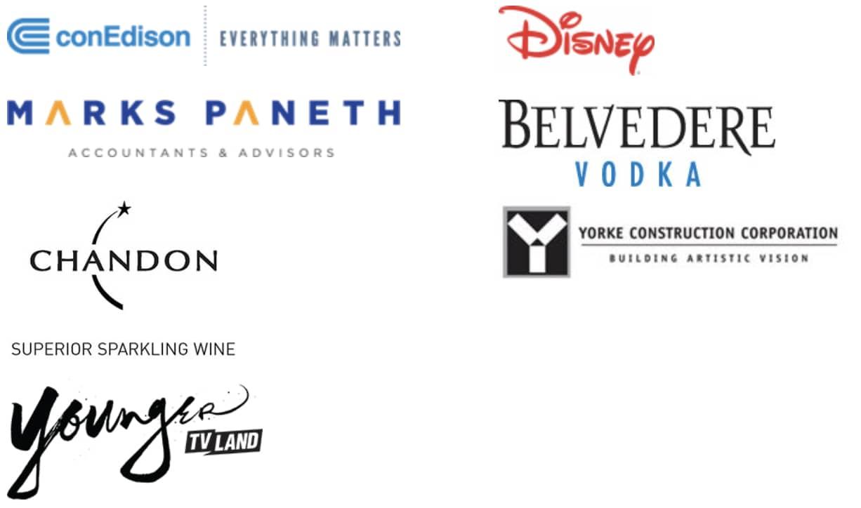 conEdison, Disney, Marks Paneth, Belvedere Vodka, Chandon, Yorke Construction Corporation, Younger