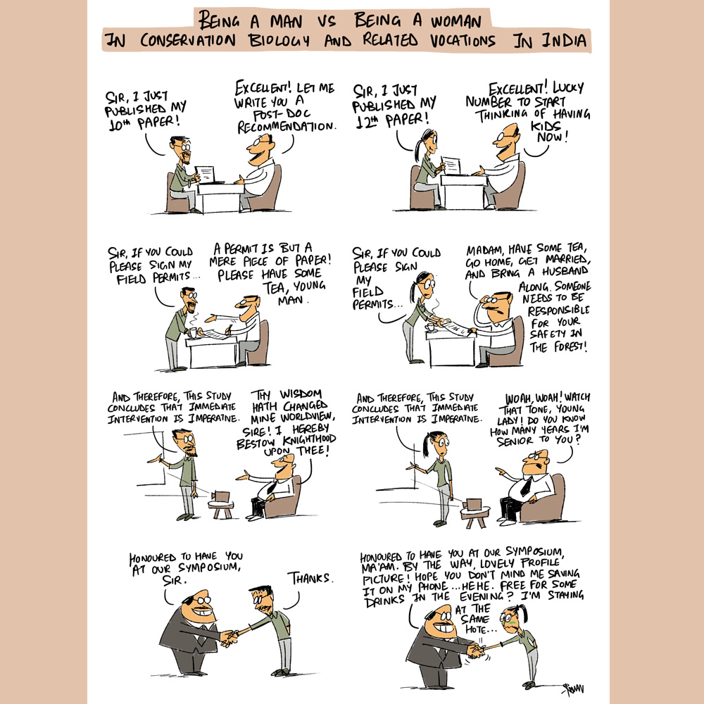 The comics go beyond just flora and fauna and explore various aspects of conservation, including gender inequalities in the community. This strip was created for International Women's Day. Photo: Green Humour