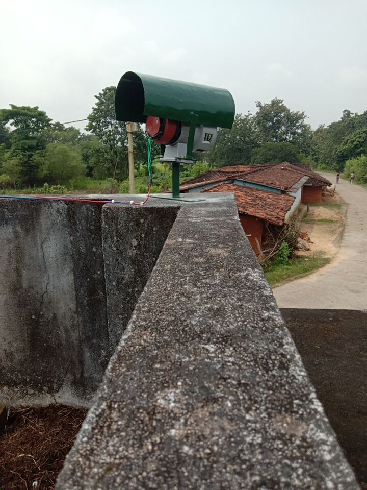 Elephant siren system installed at Tapkara range in Jashpur district of Chhattisgarh. Photo: Special Arrangement