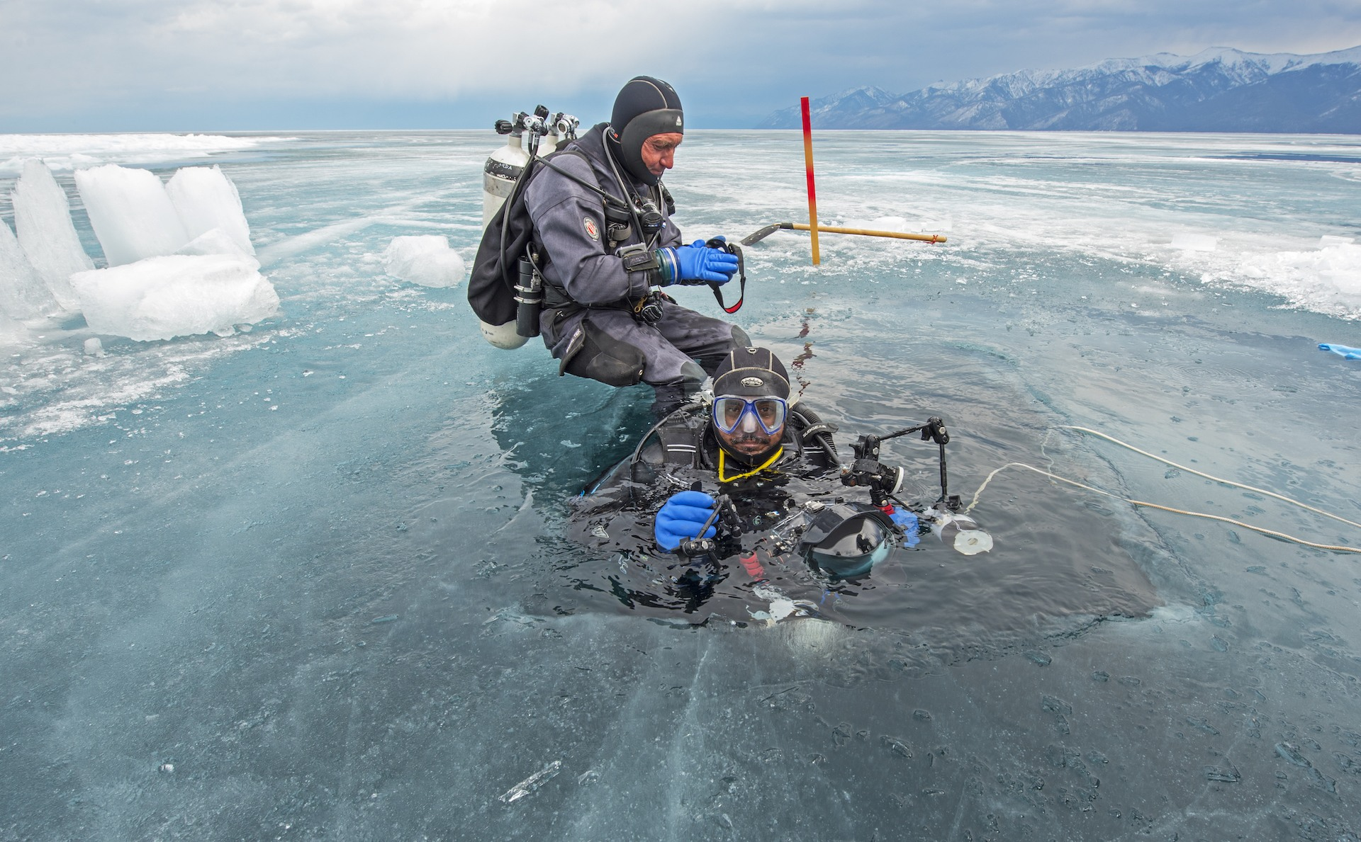 FROM THE FIELD: To photograph the pup underwater, we carved a hole about twenty feet from the nest using a chainsaw (the ice was over a metre thick!). This allowed me to enter the water along with the nerpa seal, without disrupting the nest. Underwater, me and my co-diver had a tether rope so we could find our way back to the ice hole. In many ways, we were far less experienced than the month-old pup we were shadowing.
