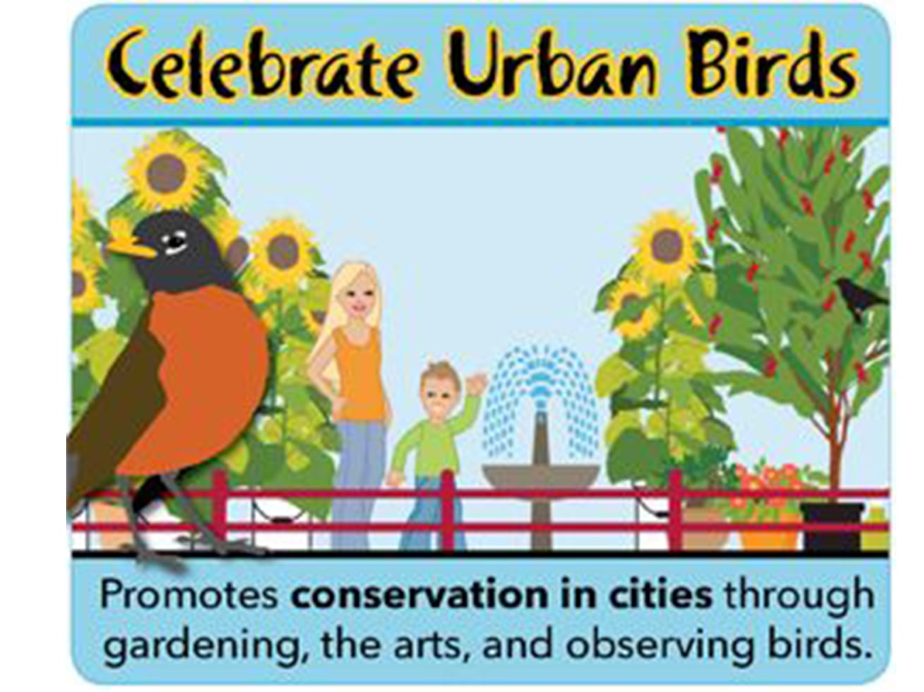 The Cornell Lab of Ornithology's Celebrate Urban Birds initiative includes music and arts, neighbourhood greening, and other community habitat-creation efforts. Photo: Pinterest