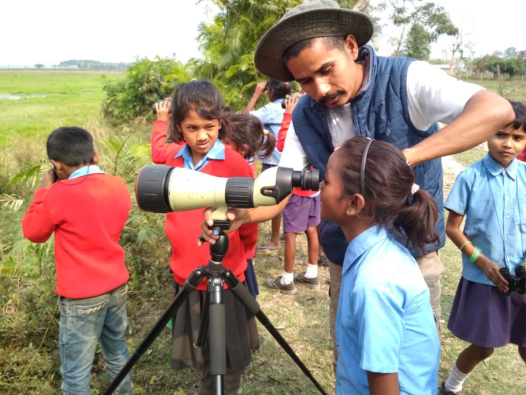Community awareness and sensitisation is crucial to wildlife conservation efforts. Manoj regularly leads children from the community on nature trails and introduces them to the wonders of nature.