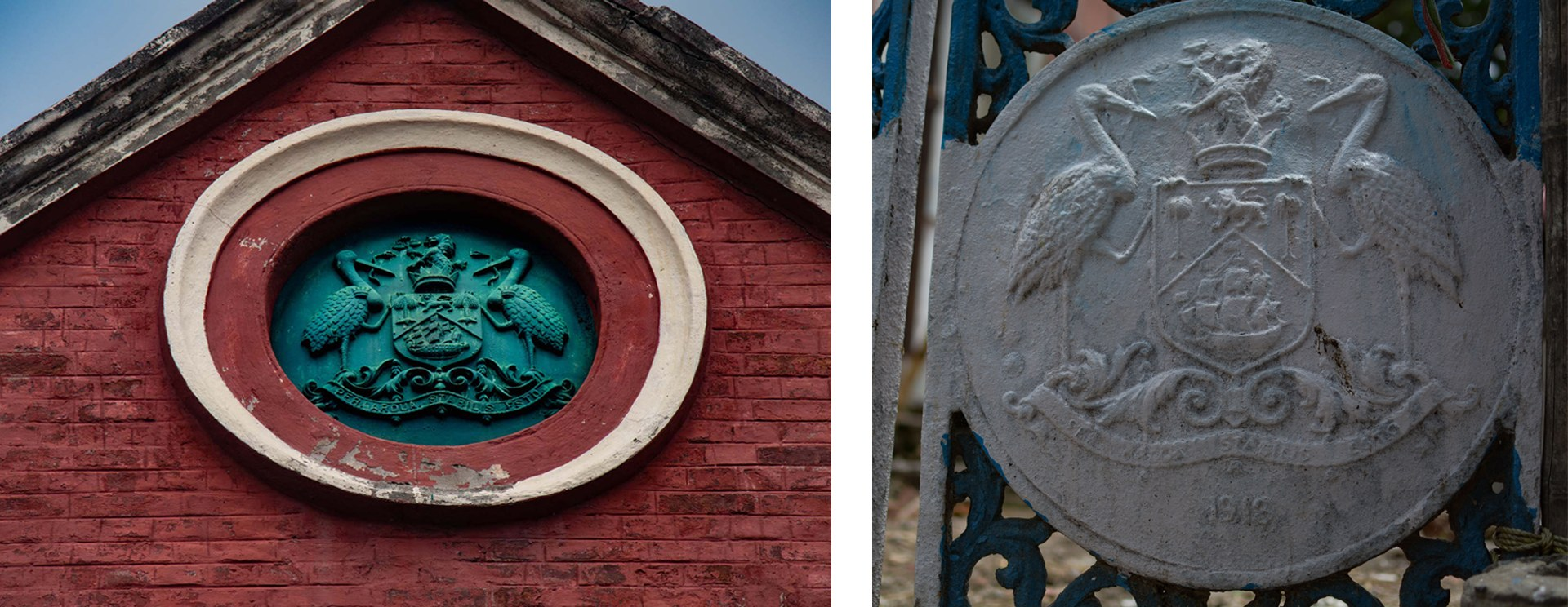 A closer look at the emblem reveals the British crown and two storks with serpents in their beaks. This was the coat of arms awarded to the Calcutta Municipal Corporation under English rule. It is unclear whether the bird was chosen for its role in waste management or simply because they were everywhere. The same crest also marks a wrought-iron gate on Kolkata's Alimuddin Street, near the Municipal Office. Photos: Masudur Rahim Rubai