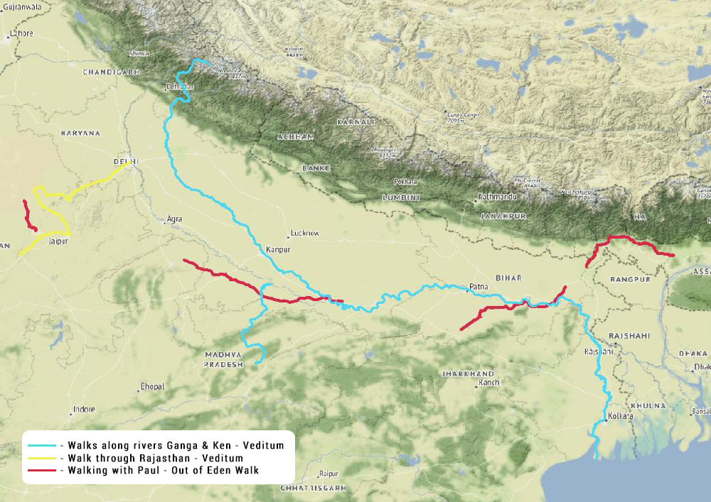 The map represents the walking projects Siddharth has undertaken along India's rivers, until September 2019. Courtesy: Siddharth Agarwal