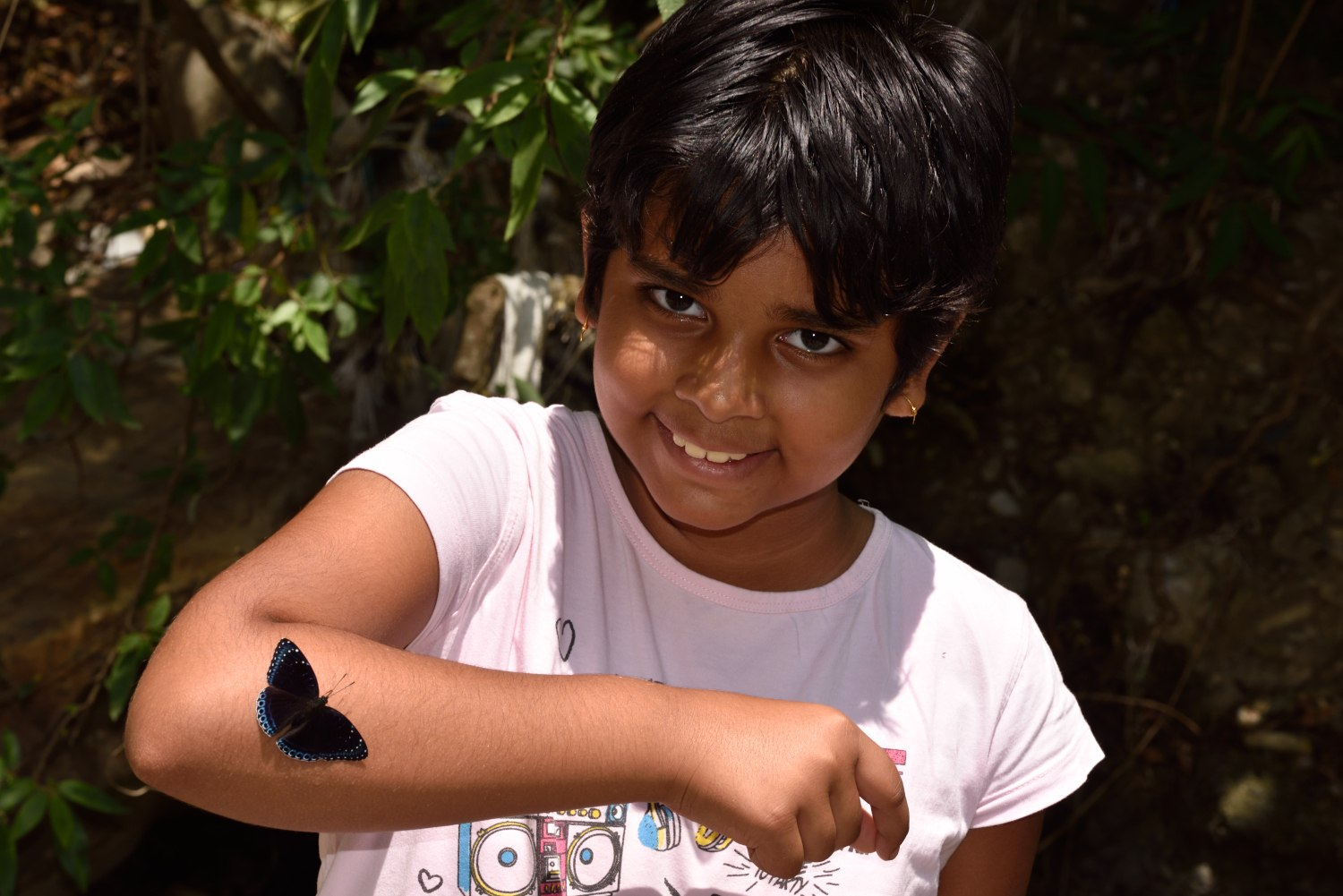 The butterfly festivals encourage young children to get involved. Eleven-year-old Gargi enthusiastically poses with a popinjay on her arm. Photo: Sanjay Sondhi