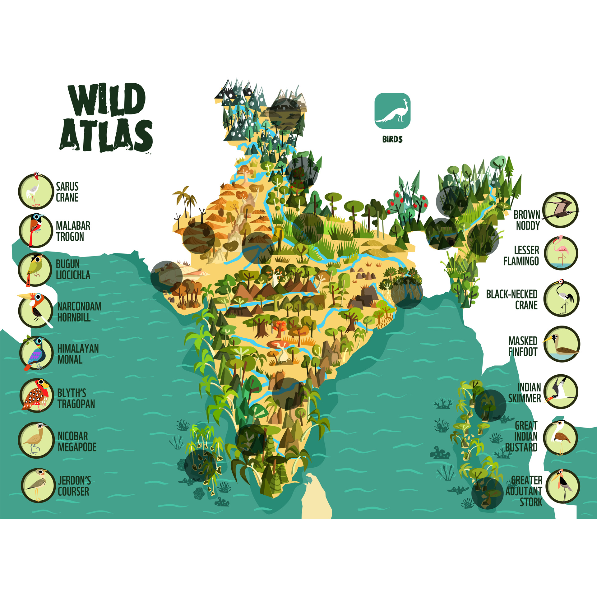 Chakravarty's illustrated maps breathe new life into landscapes and work as engaging learning tools. Copyright: WWF India One Planet Academy