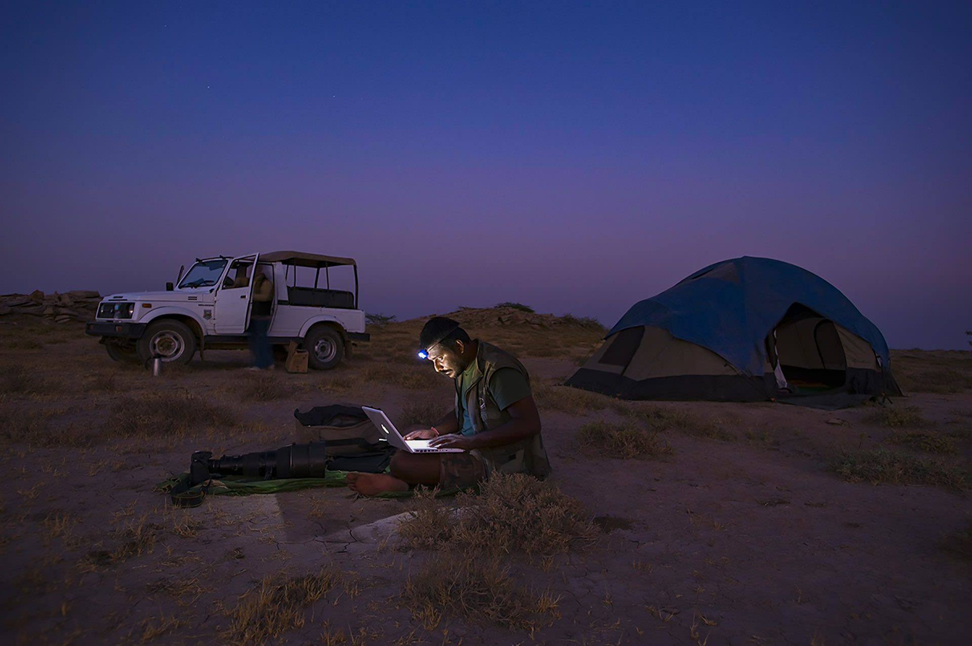 Dhritiman at the Rann of Kutch waiting to shoot a meteor shower