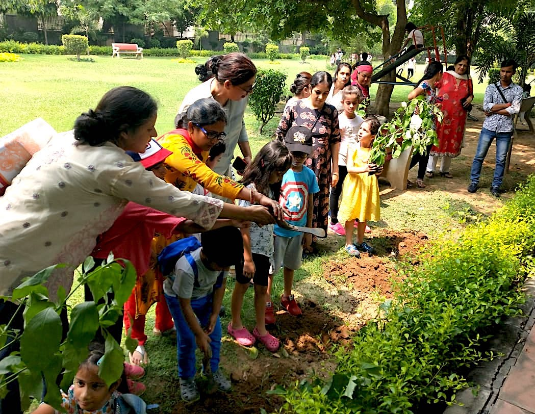 A butterfly park plantation drive in a residential garden in Asola, Delhi, involves children from the neighbourhood.    Photo courtesy: CEC-Delhi archive