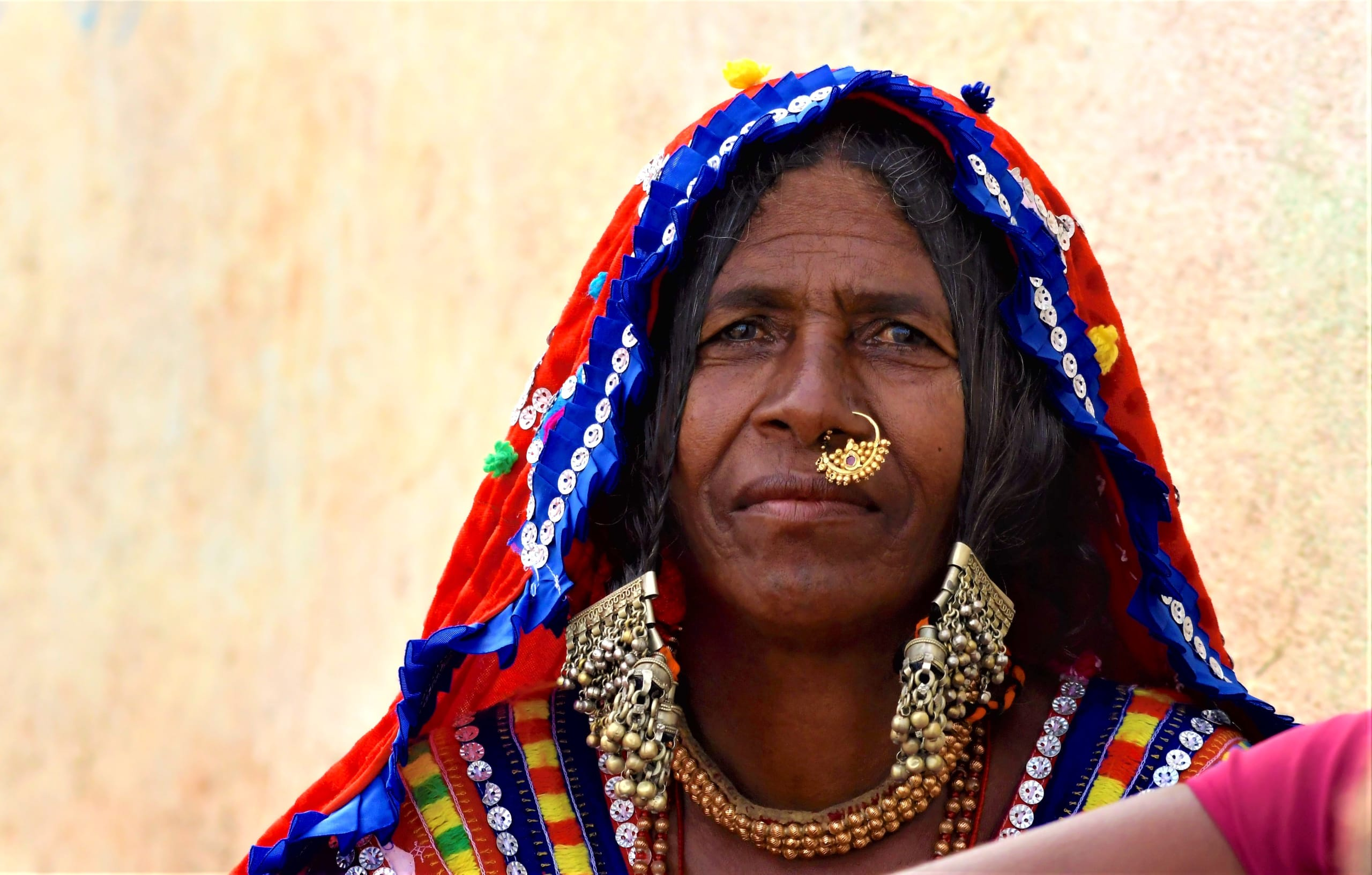 A traditional Lambadi woman from Koppal. The Lambadis or Banjaras were once nomadic tribes that are now semi-nomadic or settled, sharing space with other communities, industries, and wildlife.
