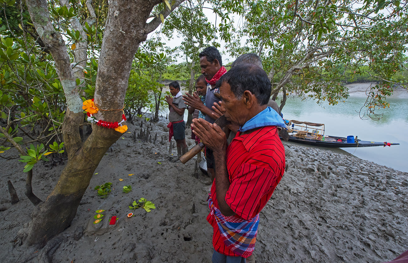 Honey collectors seek Bonbibi's blessings before they embark on a collection trip through the Sundarbans. Many enter the forest on small dinghies and run the risk of being attacked by a tiger or a crocodile. Photo: Dhritiman Mukherjee