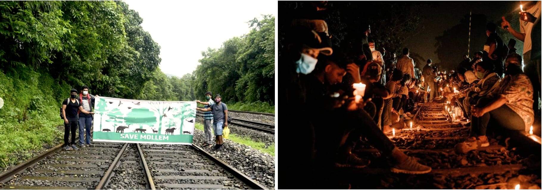 (Left) Residents of Goa held a peaceful march at Mollem and Collem on August 15, 2020. (Right) On November 5, 2020, over 3,000 citizens gathered with torches, lanterns and candles at Chandor, one of the medieval capitals of Goa, to protest against the expansion of the railway line through protected areas. Photos: Dhiraj Govekar (right) and Amche Mollem (Left)